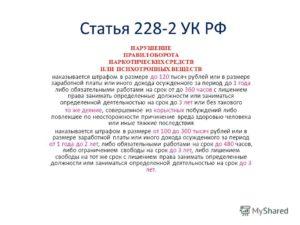 Будут ли поправки по статье 228 часть 2 в 2020 году