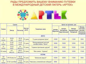 Сколько стоит путёвка в артек 2020 в рублях