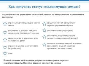 Перечень документов для получения статуса малоимущей семьи
