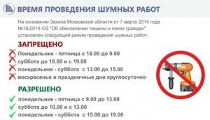 Время проведения ремонтных работ в квартире закон 2020 в москве