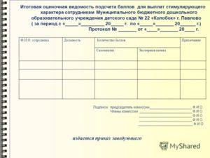 Оценочные лист стимулирующего фонда логопеда в школе