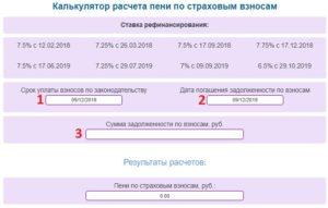 Расчет пеней по страховым взносам в 2020 году онлайн калькулятор